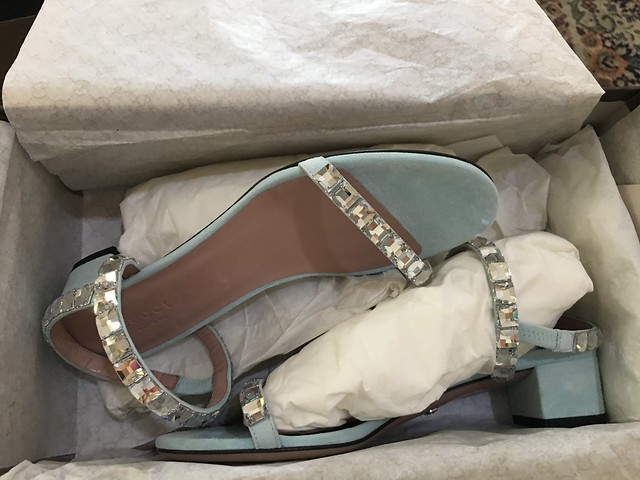Gucci blue sandals with embellishments
