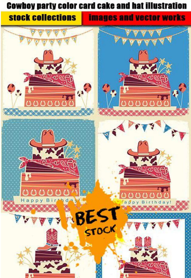 Colored picture cowboy party and cake with hats .eps .ai .jpg