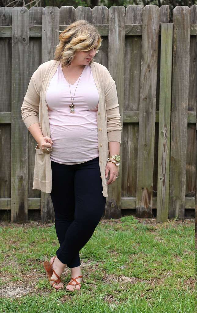 long tan cardigan, pink maternity tee and navy pixie pants_4
