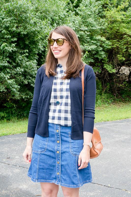 j.crew navy gingham shirt + navy Loft cardigan + boden denim skirt + sole society heeled sandals | Style On Target blog
