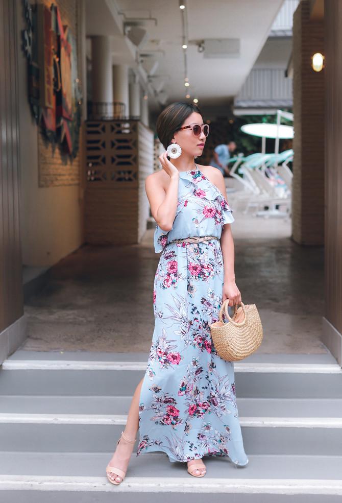 floral ruffle maxi dress petite fashion blog