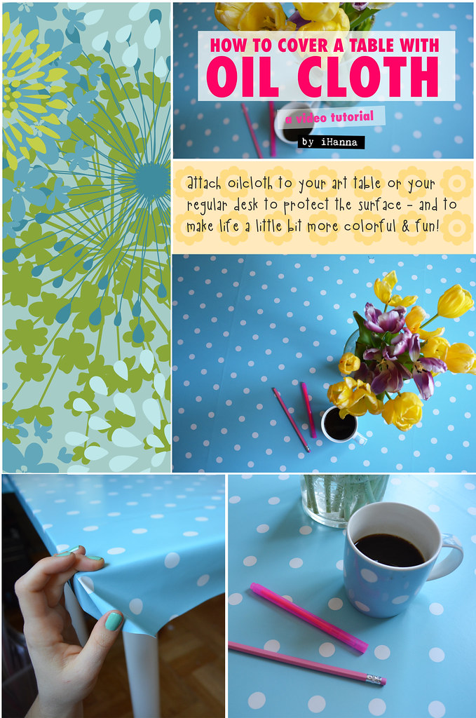 Oilcloth Polka Dot Table for Art and Crafts
