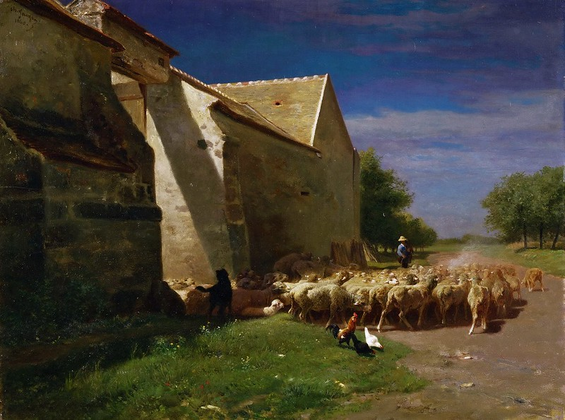 Charles-Émile Jacque - Sheep Leaving a Farmyard (1860)