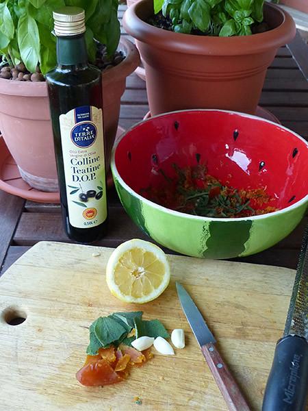huile d'olive et poutargue