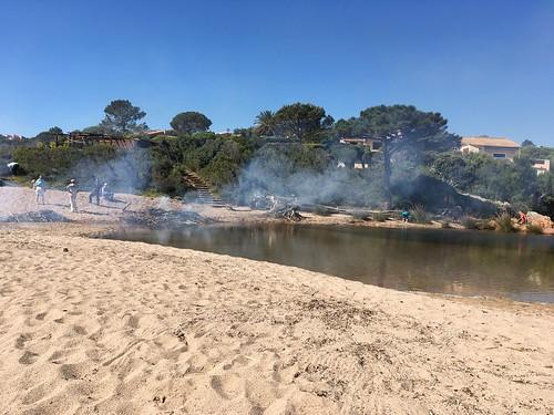 Nettoyage et brûlage du bois sur les plages à l'embouchure du Cavu