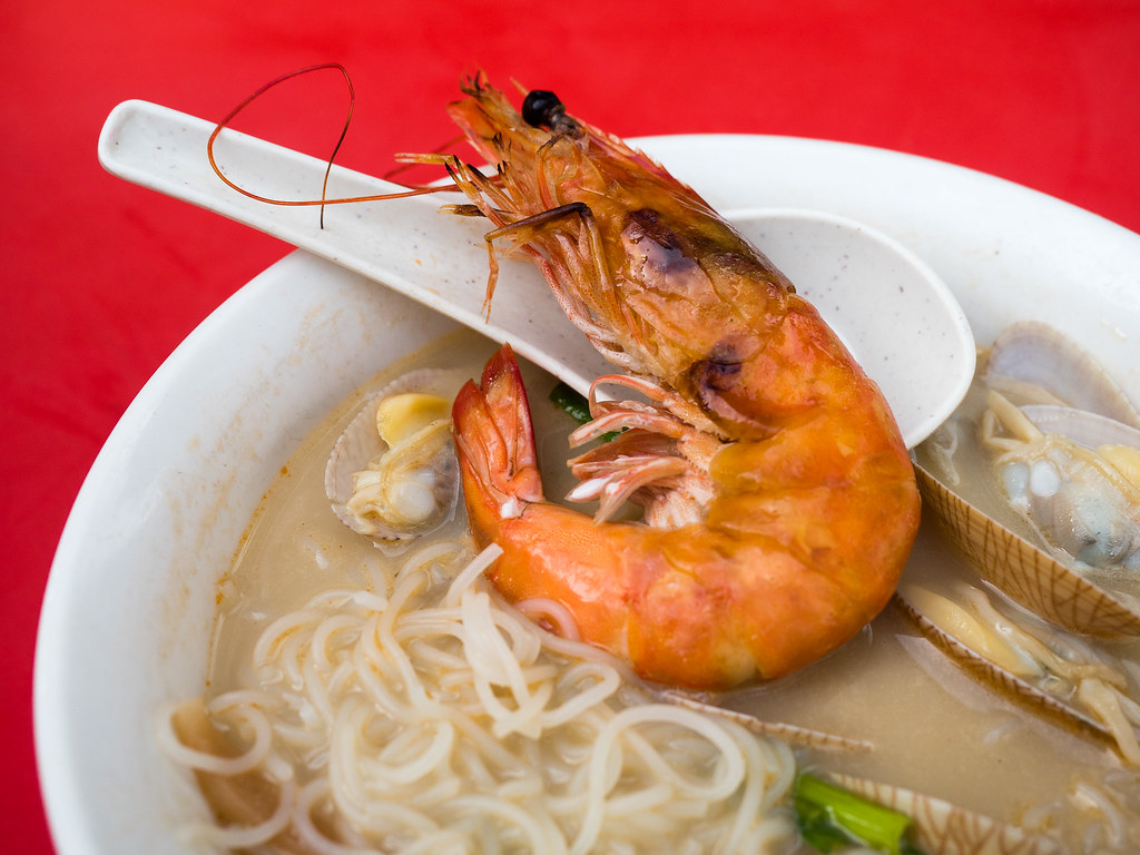Big grilled fresh prawn in the Hennessy XO Seafood Noodle.