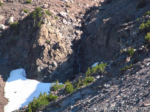 Close up of a waterfall in Cascade Gulch below the Hidden Valley Trail, Shasta-Trinity National Forest, California
