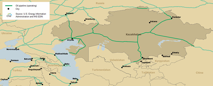 KazakhstanMap Of Major Crude Oil Pipelines Map Of Major C Flickr - Map of us oil pipelines
