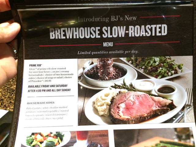 BJ's slow roasted menu