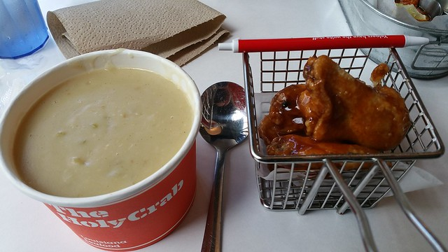 2017-May-10 The Holy Crab - seafood chowder and deep fried wings
