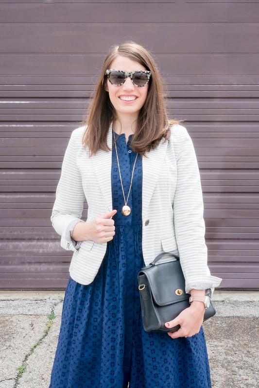 j.crew navy eyelet dress + gold circle necklace + target stripe blazer + navy espadrilles | Style On Target blog
