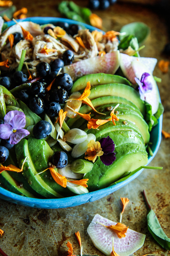 Chicken, Blueberry Avocado Power Salad with Balsamic-Honey Dressing from HeatherChristo.com