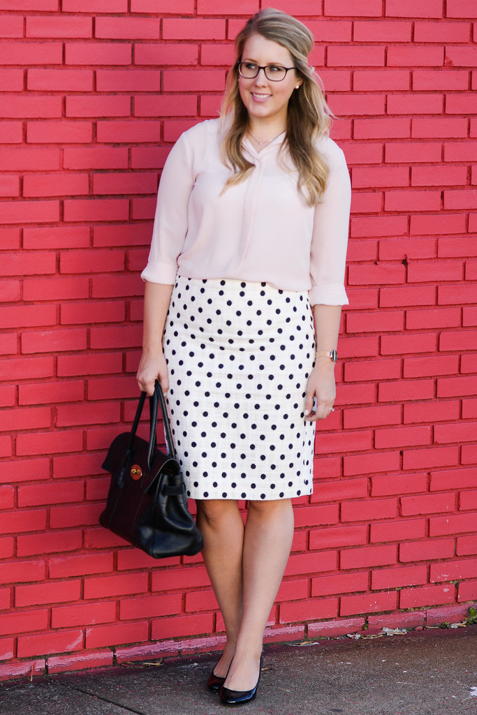 Pencil skirt in polka dot textured tweed