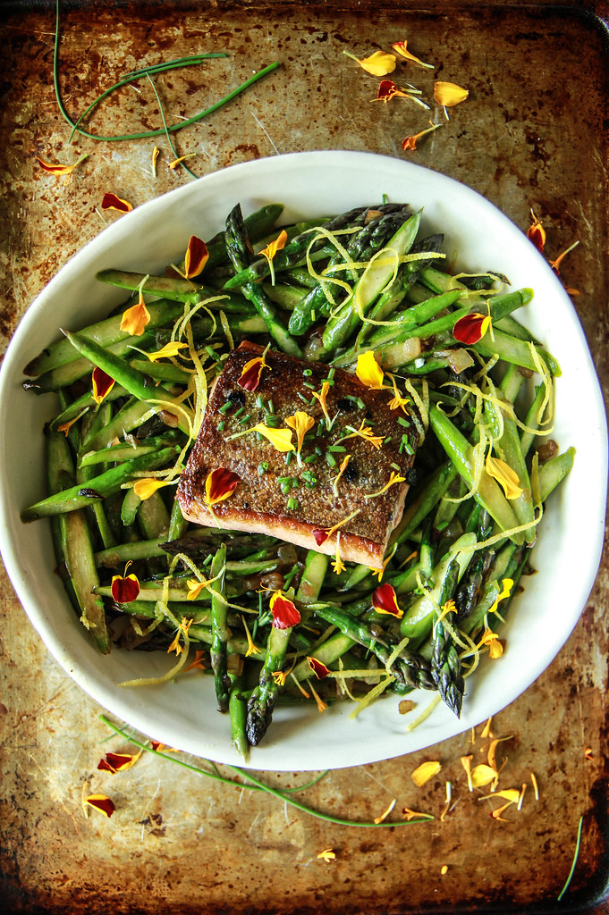 Crispy Salmon and Asparagus Salad with Lemon Honey Garlic Vinaigrette from HeatherChristo.com