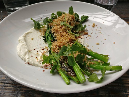 Crispy brassicas, anchovy butter, whipped chevre, cilantro and almonds
