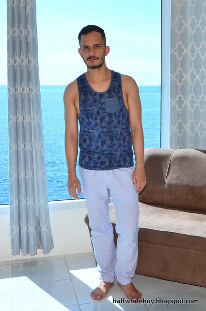 halfwhiteboy - tank top and loose pants 02