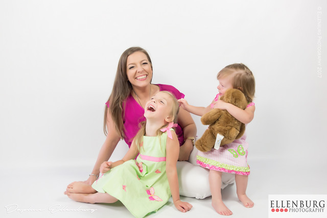 Mother laughing with daughters