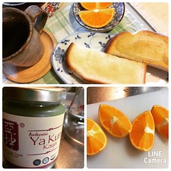 trying @ya_kun_kaya_toast for the first time & ehime grown blood oranges❤︎thank you T for the kaya toast spread, it is delicious! am a little bummed the inside of the orange wasn't reddish, but it was super sweet...happy wednesday!  #yakunkayatoast