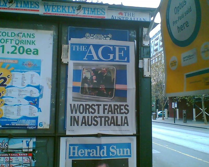 Age headline: Worst fares in Australia