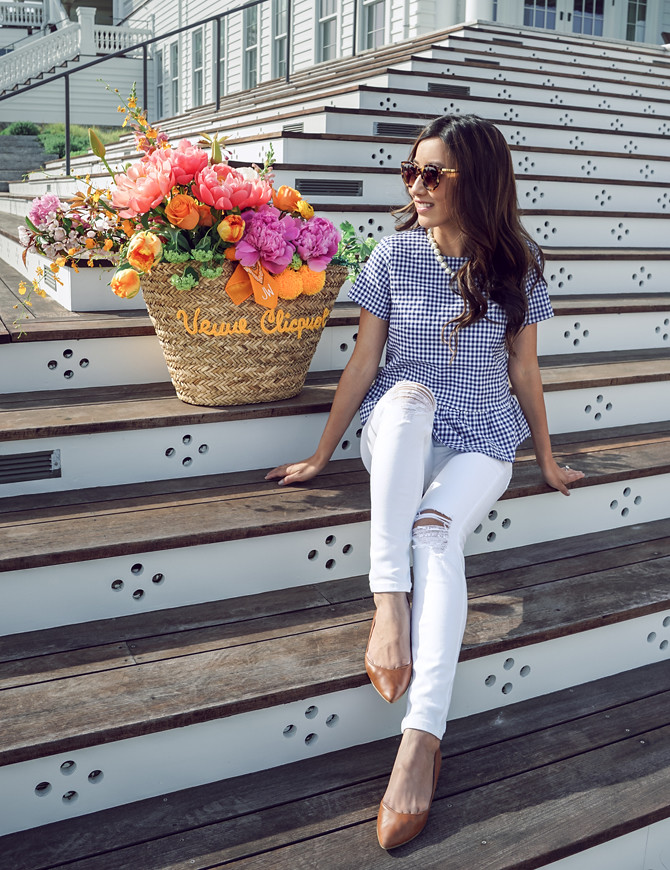 gingham peplum shirt topshop jamie thick white jeans petite