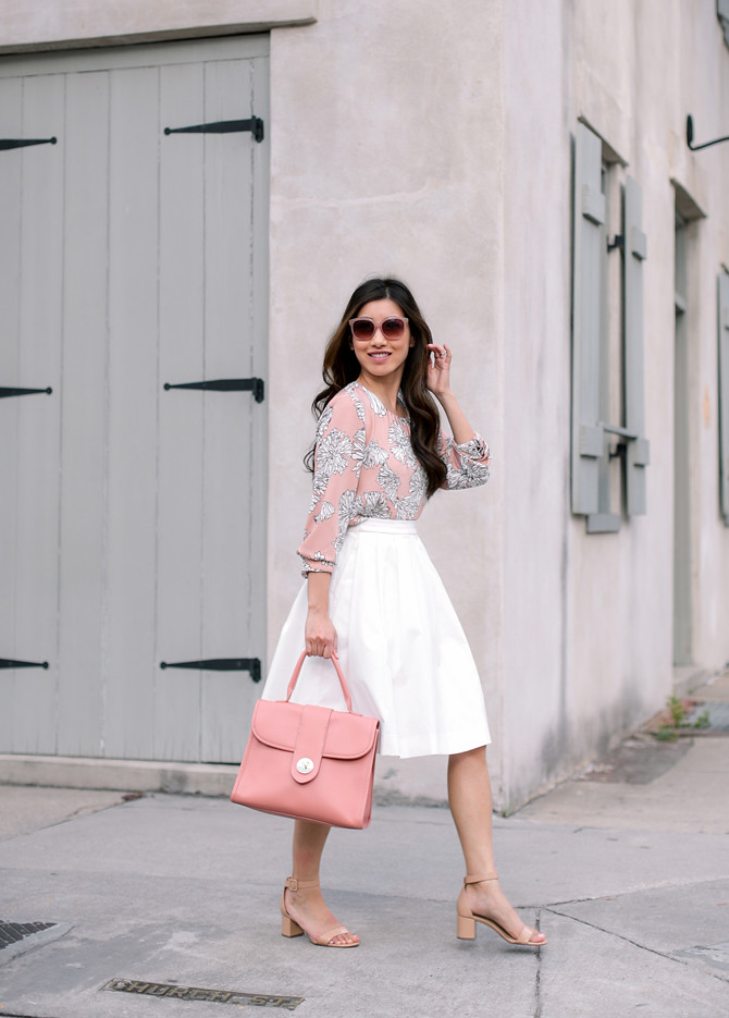 print blouse white skirt affordable work outfits