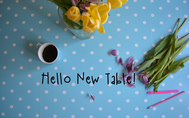 Hello my new polka dot table
