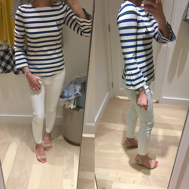 Ann Taylor Stripe Fluted Sleeve Top, size XS regular