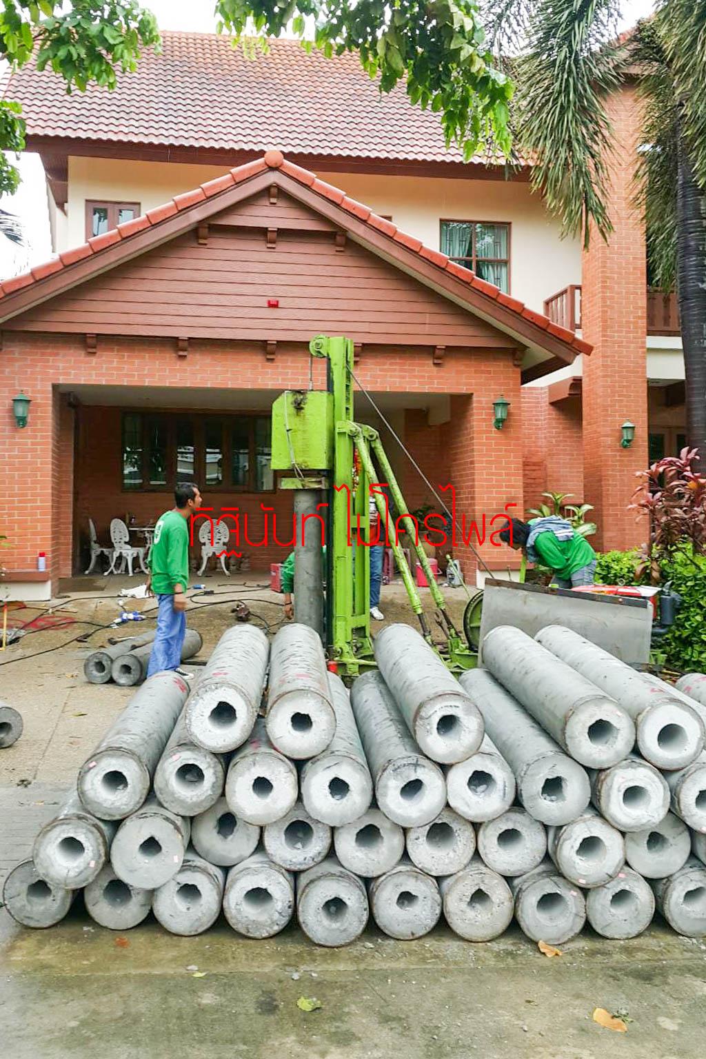 งานตอกเสาเข็มต่อเติมบ้าน หมู่บ้านวรารมย์ เลควิว เทพารักษ์ สมุทรปราการ