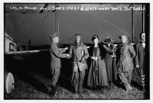 Col. A. Miller, Maj. C. Spatz, Mrs. C.B. Spatz, Anna Spatz, Sgt. Tanner (LOC)