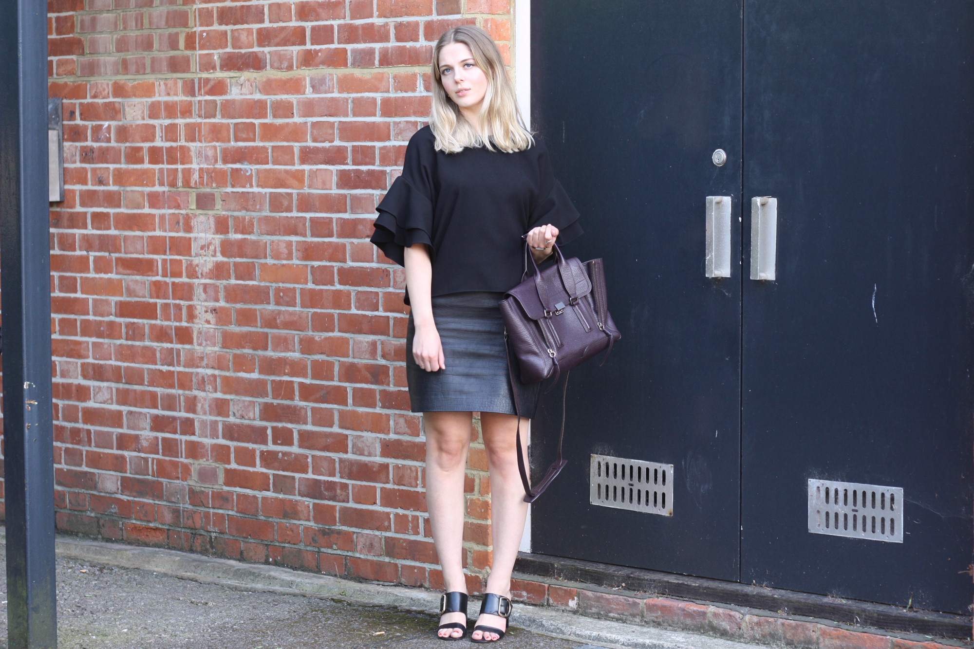 Zara black frilled top, Whistles Fairhope sandals and Topshop Boutique leather croc skirt