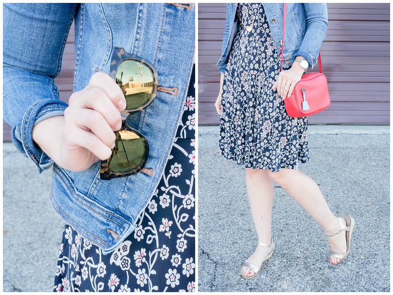 red navy and white floral Loft dress + denim jacket + red J.Crew purse + gold wedge sandals | Style On Target blog