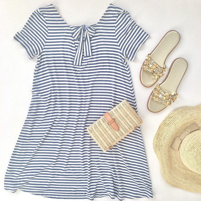 LOFT Striped Tie Back Swing Dress Flatlay