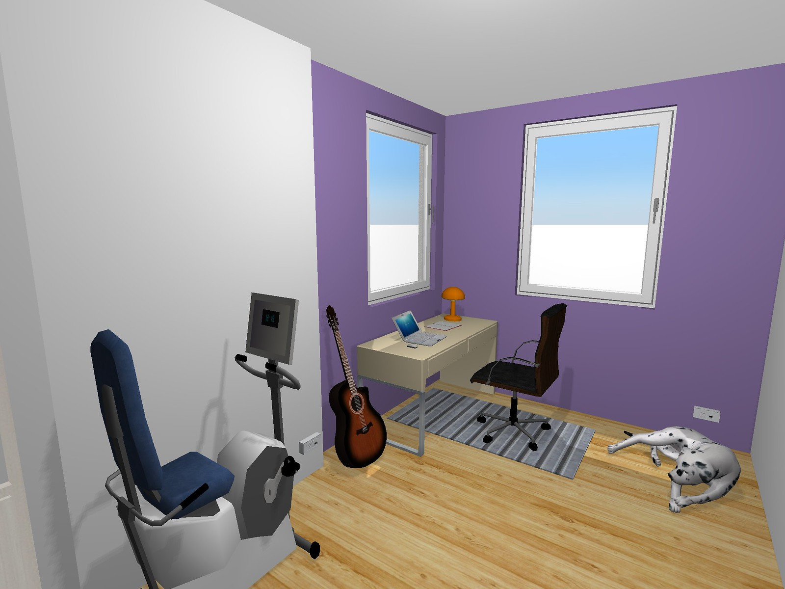 A concept render of how the new office should look, made with Home Design 3D on the iPad. It shows a much more spartan room, with a small, rectangular desk pushed up to the window on the far left corner, an office chair, guitar on a stand beside the desk, exercise bike nearby, and a dog curled up behind the work area.