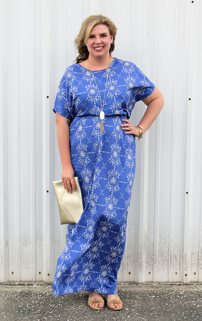 blue maxi dress DIY 3