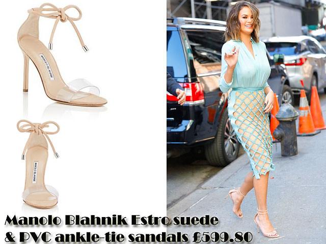 bf55734727f1a Chrissy Teigen in Manolo Blahnik Estro suede & PVC ankle-tie sandals ...