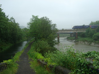 Pembroke Coast Express (Intercity 125) crossing river in Neath