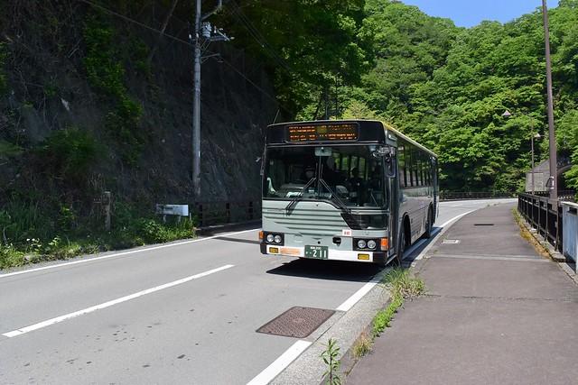 畦ヶ丸 大滝橋バス停から谷峨駅行きバスに乗車