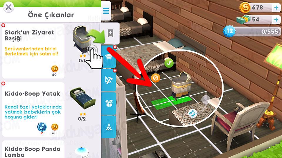 The Sims Mobile - Bebek Yap Serüveni - inşa modundan bir beşik satın al