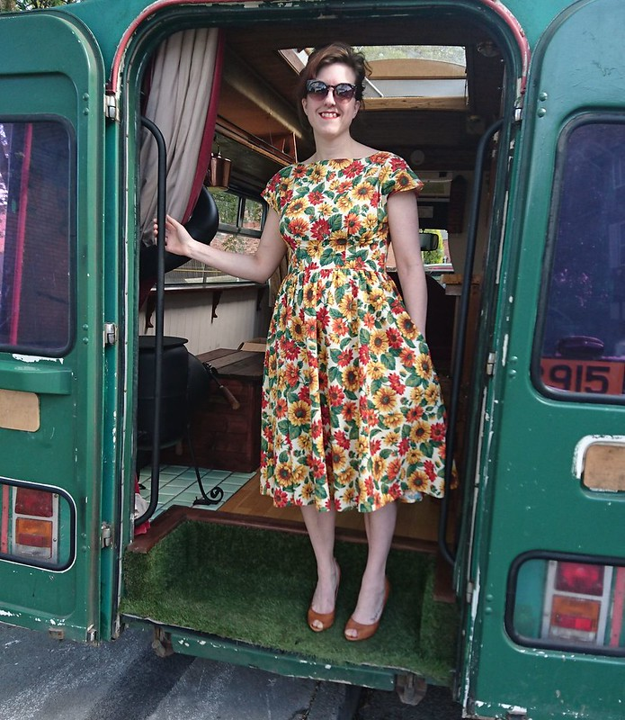 by hand london anna dress with knee length gathered skirt