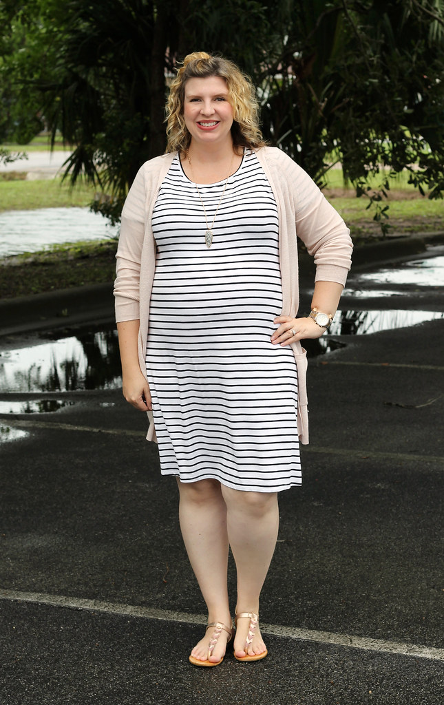black and white stripe dress, long blush cardigan 3