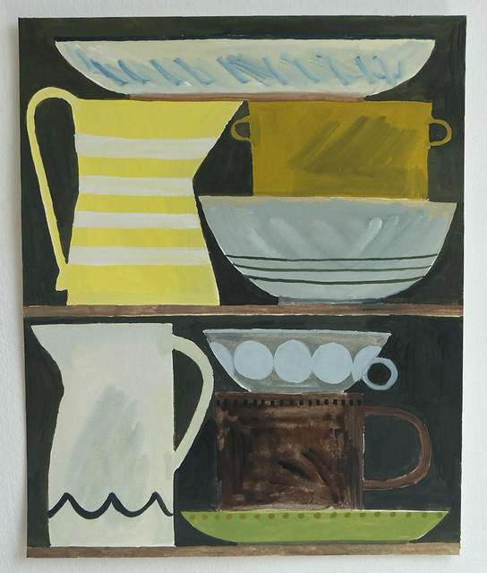still life with yellow striped jug