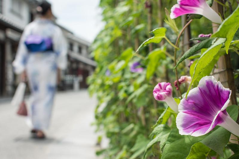 倉敷の町と浴衣の女性
