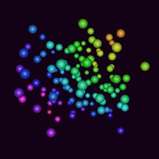 JS_Art_SS_(2017_05_24)_3_Cropped_1 HTML5インタラクティヴ ジェネレーティヴ ディジタル アートのスクリーンショット画像。 黒い背景の上で色とりどりの多数の粒子が散らばっている様子である。 奥にある粒子はやや小さく、手前にある粒子はやや大きく描かれている。
