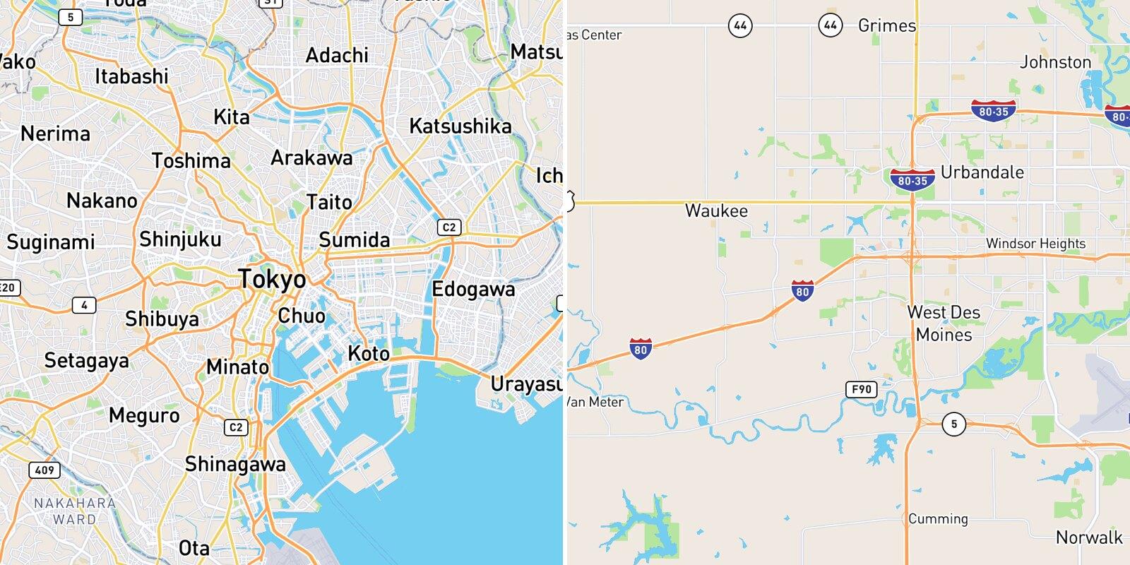 Tokyo, Japan vs. West Des Moines, Iowa
