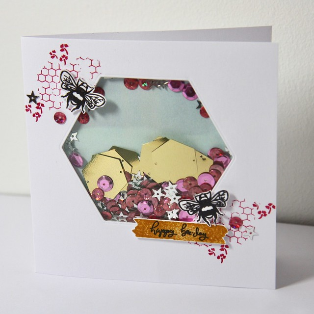 StickerKitten on Hochanda - card 2 - Bee Garden shaker card