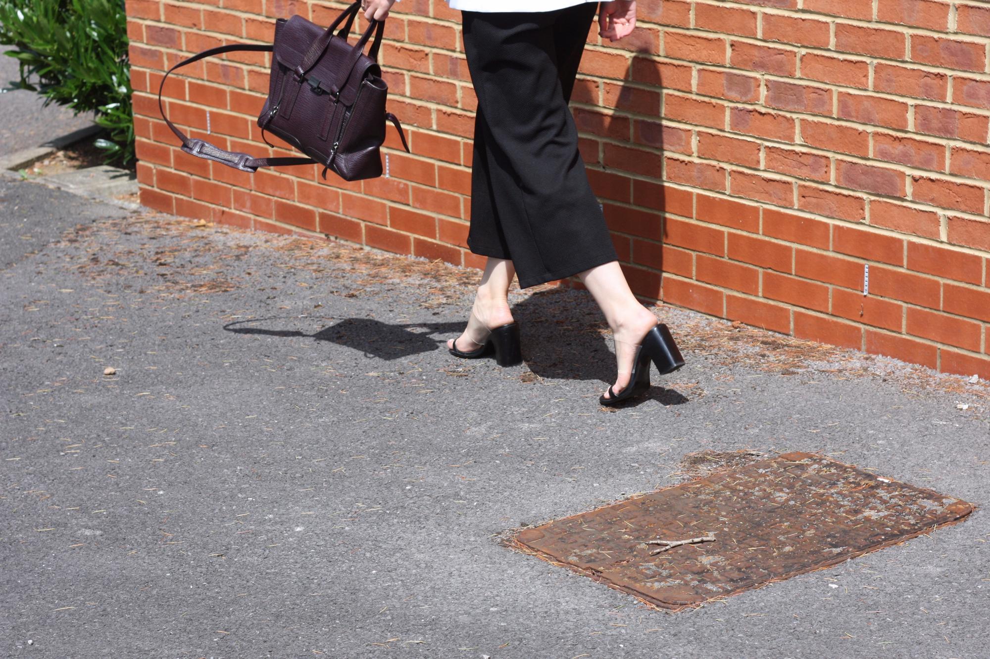 Mango see-through straps sandals, Zara black jumpsuit and 3.1 Phillip Lim Pashli medium bag
