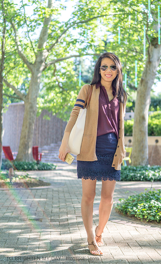 long camel cardigan, burgundy red sleeveless top, navy lace mini skirt, canvas tote, brown sandals