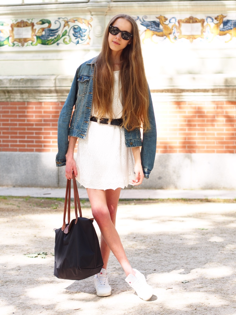 Lace dress with denim jacket