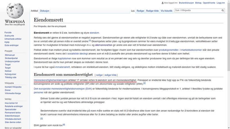 wikipedia eiendomsrett menneskerettighet