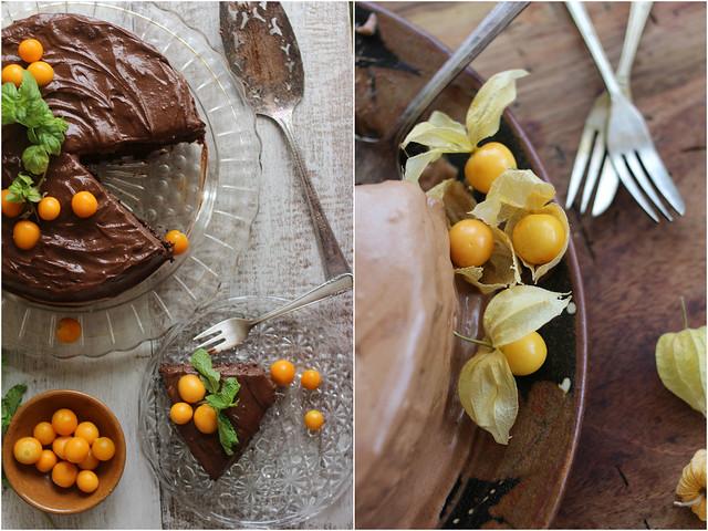 Paticheri_groundcherries on a rustic almond torte